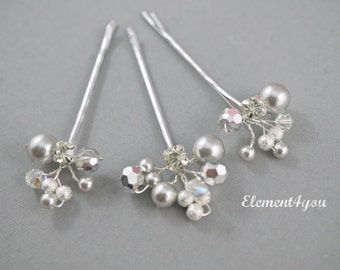 Bridal Bobby Pins, Silver element clips, Crystals pearls hair clips, Wedding Accessories, Silver hair clips, Set of 3 clips