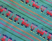 Ethnic Mexican Colorful White Bright  Striped Fabric Yard Cambaya