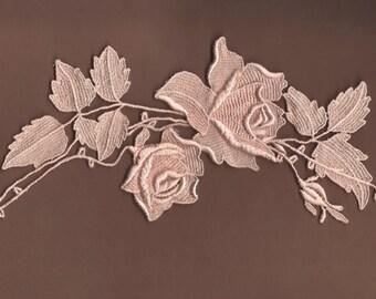 Hand Dyed Venise Lace Rose Applique Vintage Blush Pink