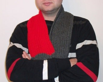 Scarf - infinity in red-gray - Ready to Ship