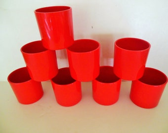 Dansk Glasses, Stacking Red Plastic by Gunner Cyren, Modern