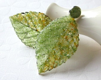 Woodland Fairy Green Leaf Ear Jacket Earrings