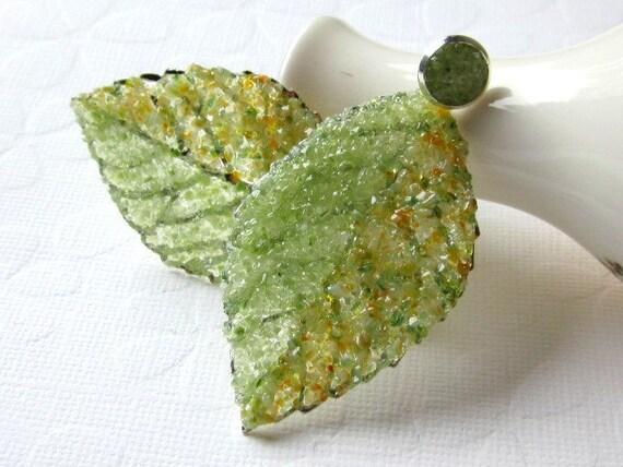 Leaf Earrings Front Back Earrings Reverse Ear Jackets Woodland Fairy Earrings Burnt Orange Stud Earrings Autumn Pale Green Stained Glass