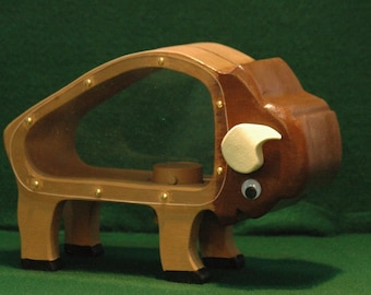 Wooden Buffalo Coin Bank