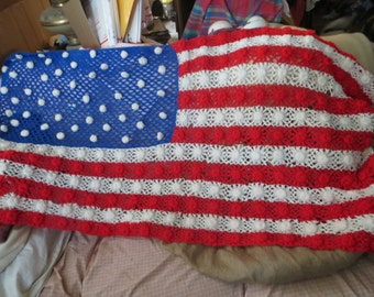 Vintage hand crochet  granny squares AMERICAN FLAG AFGHAN throw blanket