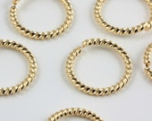15mm Gold plated fancy twist 14 gauge jumprings (20)