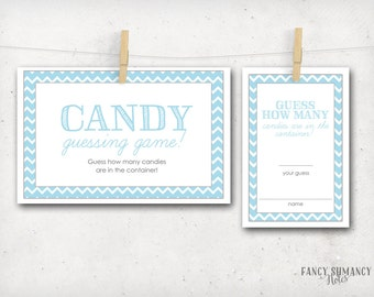 Candy Guessing Game / Blue  Chevron Shower Game / Guess How Many Candies / Instant Download / PRINTABLE / 204