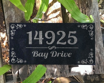 House Plaque Personalized Absolute Black Granite Stone House Number Address Plaque for House Custom Engraved Modern House Number Sign