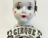 Mixed Media Art, Assemblage, Art Doll, CIRQUE, CIRCUS, Black and White, Free Admission for Those that Dream