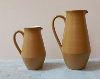1960s Denby Ode Stoneware Pitcher Jug England Glyn Colledge Design Medium Size Matte Mustard Gold White Glazed Interior