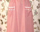 Vintage 50s Red and White Gingham Pinafore Dress with Eyelet Lace - Maxi