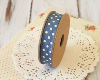 Dark BLUE with Cream dots fabric cotton blend ribbon