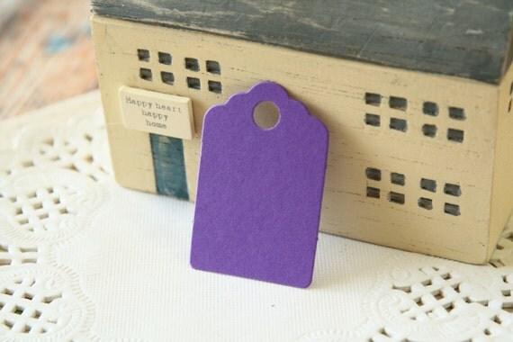 Mini AMETHYST Purple Scallop Swing Tags