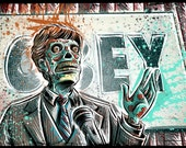 They Live art print john carpenter 80's 90's movie film action sci fi horror rowdy roddy piper alien green face politician obey joe badon