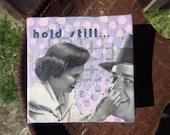 "hold still - 4"" x 4"" original artwork  painting and 1950s collage"