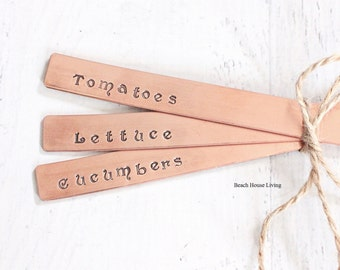 Vegetable Garden Marker Set - Plant Markers - Garden Signs - Lettuce, Tomatoes and Cucumbers Garden Labels Copper - Ready to Ship Gifts