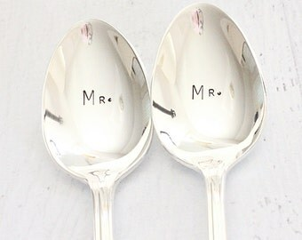 Mr Mr Spoon Set Same Sex Couple Coffee Spoons - Hand Stamped Silverware