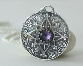 North Star Necklace, Amethyst, February Birthstone, Sterling Silver, Talisman, Rose Compass