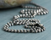 Sterling Silver 2mm Ball Bead Chain Artisan Oxidized Bright Shiny Rustic Solid .925 Sterling Silver Chain for Charms Pendant