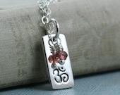 Om Necklace Jewelry, Aum Ohm, Tiny Charm, Yoga Jewelry, Sterling Silver, Garnet January Birthstone