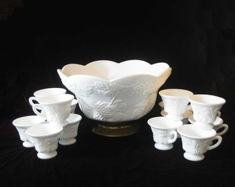 Milk Glass Harvest Large Punch Bowl W/15 Cups By Colony