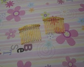 15pcs Gold Wire Gold Metal Hair Combs (12 teeth) 47x37mm - DIY - Wedding Hair Combs - Bridal Hair Combs