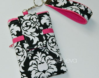 Black and White Damask with Hot Pink Samsung Galaxy  iPhone / Phone Case with Wristlet with Back Zipper Pocket