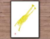 Zen Frog Painting, hand painted, watercolor, Original Zen Fine Art, Basho Frog Haiku, zen illustration, zen decor, feng shui, japanese, tao