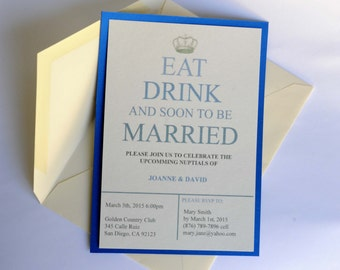 INSTANT DOWNLOAD - Eat, Drink and soon to be married invitation card - Interactive PDF file and free venue questionier and evaluation