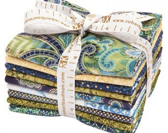 Fortissimo FAT QUARTER Bundle - Fortissimo Marine - Robert Kaufman - Gold Metallic FQ Bundle
