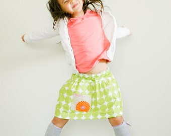 Polka Dot Skirt. Drop waist skirt. Kids clothes. Girl Skirt. School clothes. Green and white polka dots