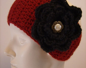 Cranberry Color Earwarmer with Large  Black Flower