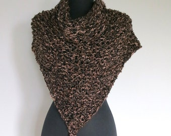 Rustic Dark Brown Color Knitted Chunky Yarn Shawl Wrap Stole with Tassels