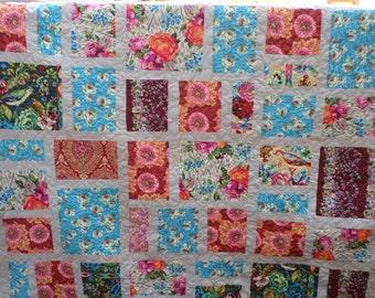 Hapi Full/Queen Bed Quilt - Amy Butler Fabric - Handmade