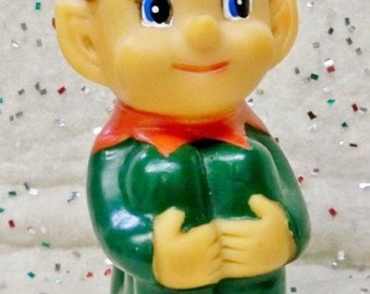 Christmas Elf Windup Toy ~ Rare ~ Vintage Dancing Jingle Bell Elf ~ Green Suit ~ 1950s Action Toy ~ Excellent Condition