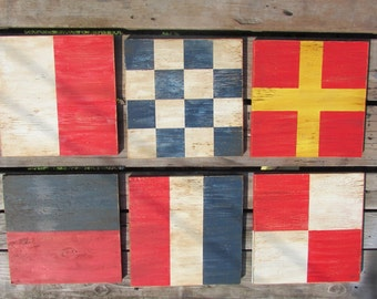 10 Inch Nautical Flags. Rustic Nautical Decor. Nautical Flags. Nautical Decor. Lake Decor. Made to Order