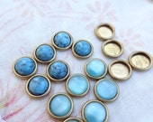 16 Raw Brass Low Wall Bezel. Round. 8mm Cabochon Setting. 16PCS E26