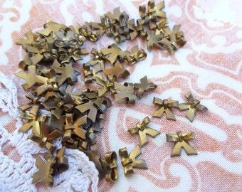 50 Tiny Puffy 3D Bow Findings, Flatbacks, Brass Bows, Ribbon Brass, Very Cute E22