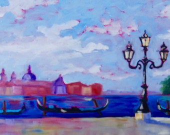 10 x 20 Original Impressionist Oil Painting Landscape of Venice Italy Gondola's by Rebecca Croft