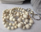 Howlite Pearl ID Badge Lanyard with detachable ID hook