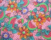 "Vintage Marcus Brothers Cotton Floral Fabric Yardage Fruits Berries Watermelons Pink Orange Green 60"" Wide – 2 1/4 Yards"