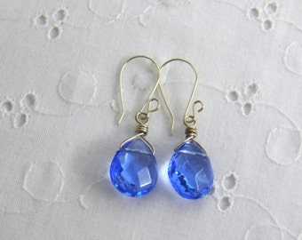 Blue Glass Dangle Earrings Teardrop Earrings Briolettes Sky Blue Womens Fashion Translucent Teardrop Earrings
