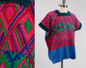 Vintage hand woven Guatemalan HUIPIL tunic top / Velvet trim and Indigo cotton / Heavily embroidered / Nice older piece