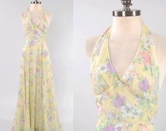 Vintage 70s floral gauze HALTER maxi dress / Beautiful bohemian sheer floral / Full skirt
