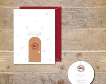 Christmas Cards, Mistletoe,Holiday Cards, Christmas Card Sets, Front Door, Cristmas Wreath, Handmade, Cards