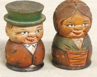 Salt and Pepper , Shakers , Carved Wood , Hand Carved , Couple , Male Portrait , Female Portrait , People , Pair , Set , Kitchen , Table Top