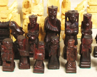 Chess Set, Hand Carved, Wood Chess Set, Wooden, Asian Figures, Board Games, Games, Game Pieces, Storage Case, Wooden Box
