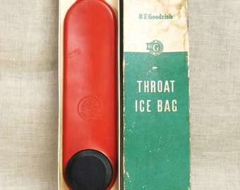 Vintage Ice Bag, Throat , Water, Medical Collectibles, Health, First Aid, BF Goodrich, Rubber Bag, Original Box, Health Aids,Red,Spinal Pain
