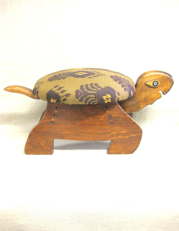 Footstool Turtle Stool Handmade Seating Wooden