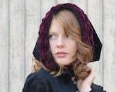 Velvet Hood / Burgundy and Black / Gothic Valentine